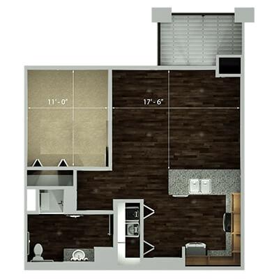 the plaza one bedroom floor plan
