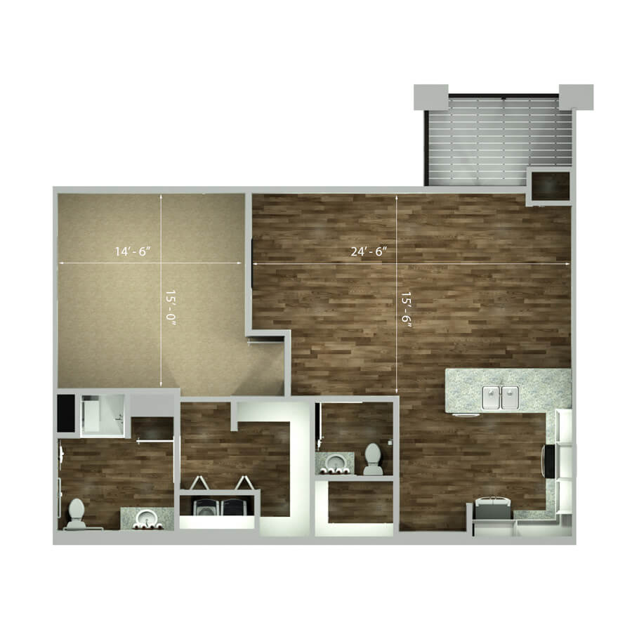 leawood one bedroom floor plan 2d