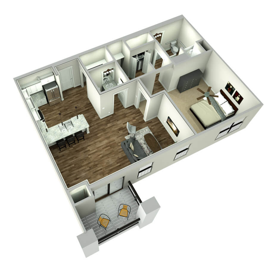 leawood one bedroom floor plan 3d