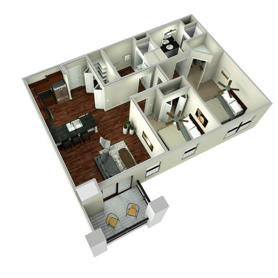 missino two bedroom floor plan 3d