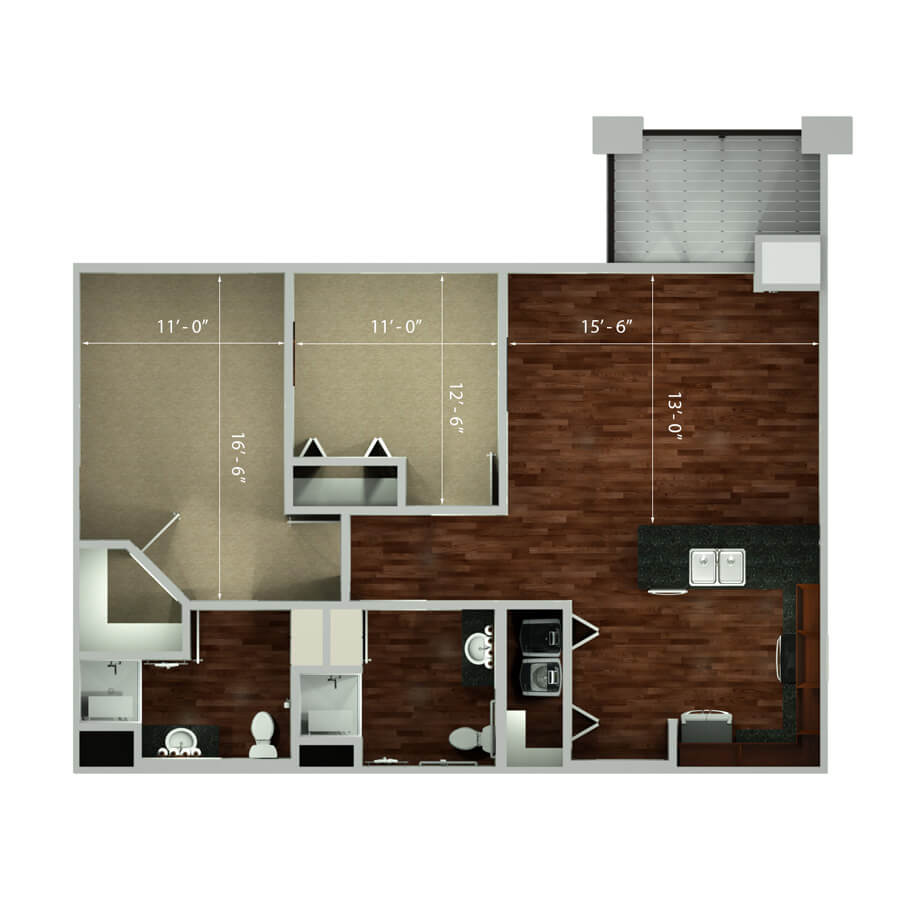 mission two bedroom floor plan 2d
