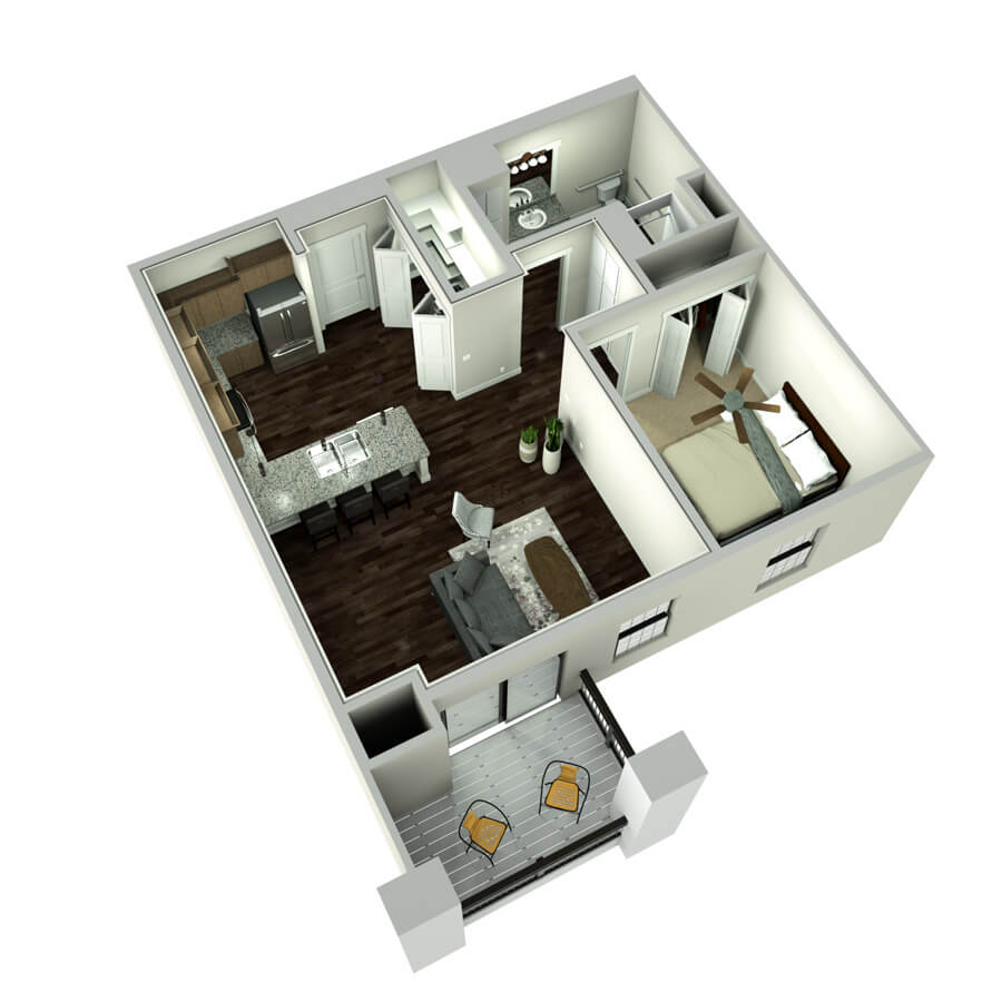 plaza studio floor plan 3d